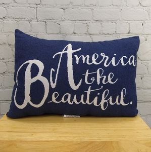 NWOT America the Beautiful navy throw pillow